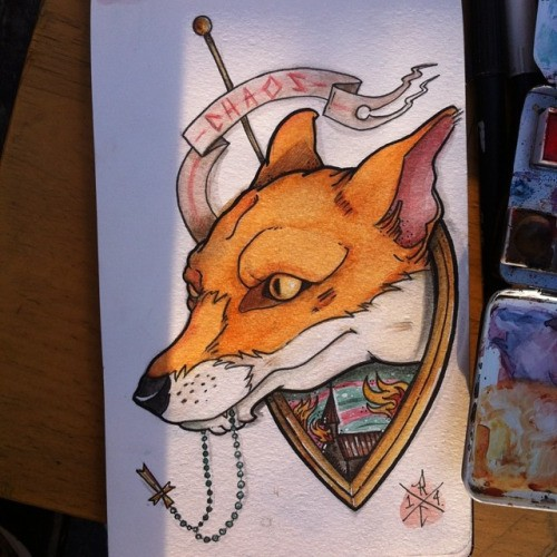 Colorful old school fox with quoted ribbon tattoo design