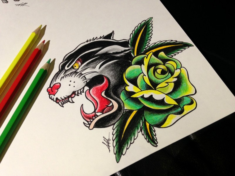 Colorful old school panther and green rose flower tattoo design