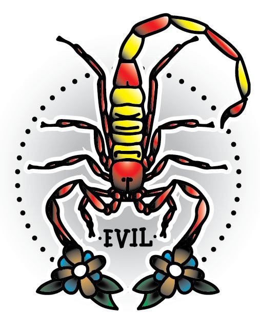 Colorful old school scorpion with flowered pincers tattoo design
