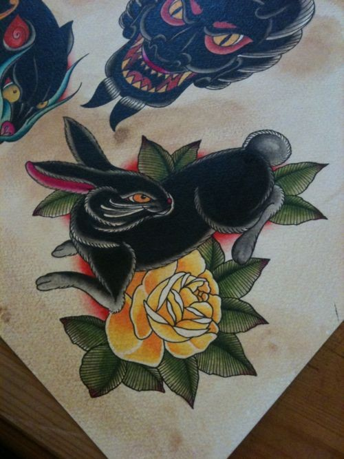 Colorful old school style escaping hare and rose tattoo design