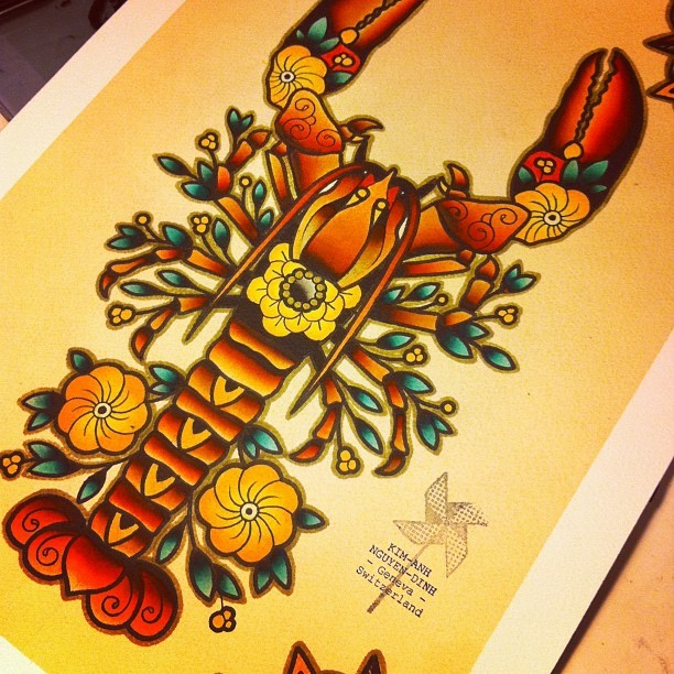 Colorful old school water animal with floral decorated legs tattoo design