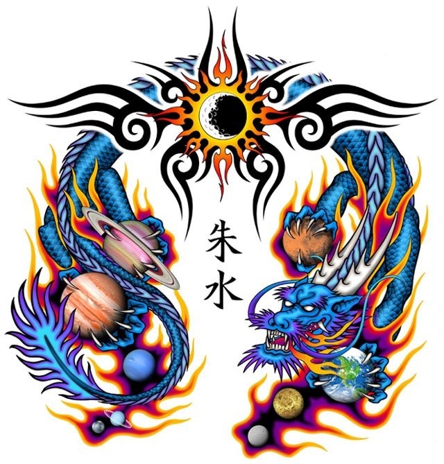 Colorful oriantal dragon with a lot of planets and tribal sun tattoo design