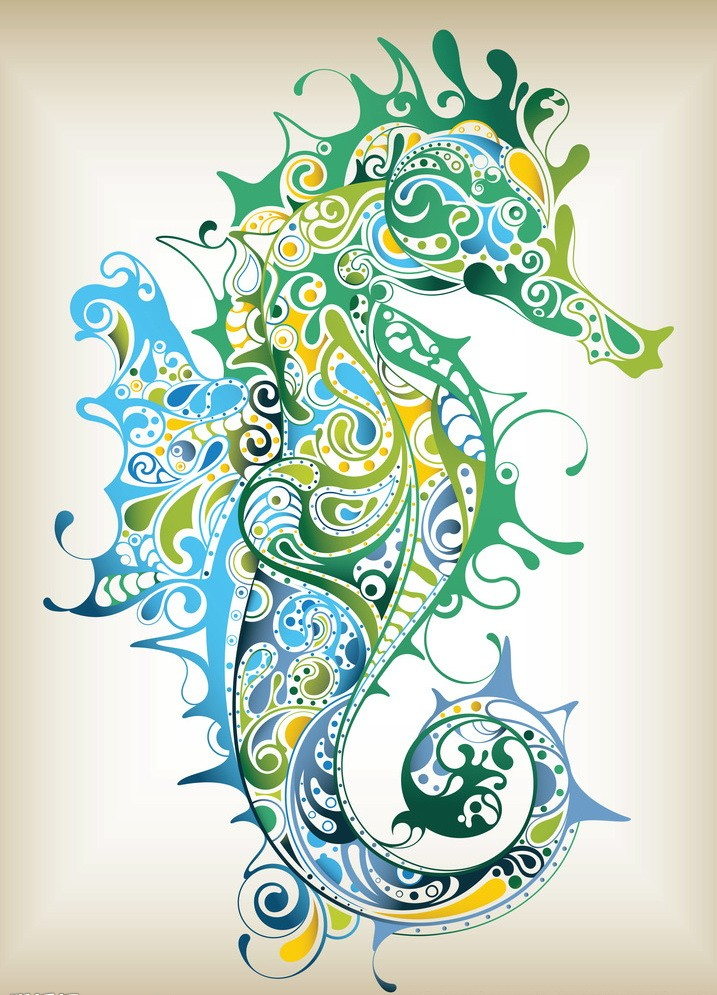 Colorful ornamented seahorse turn to the right tattoo design