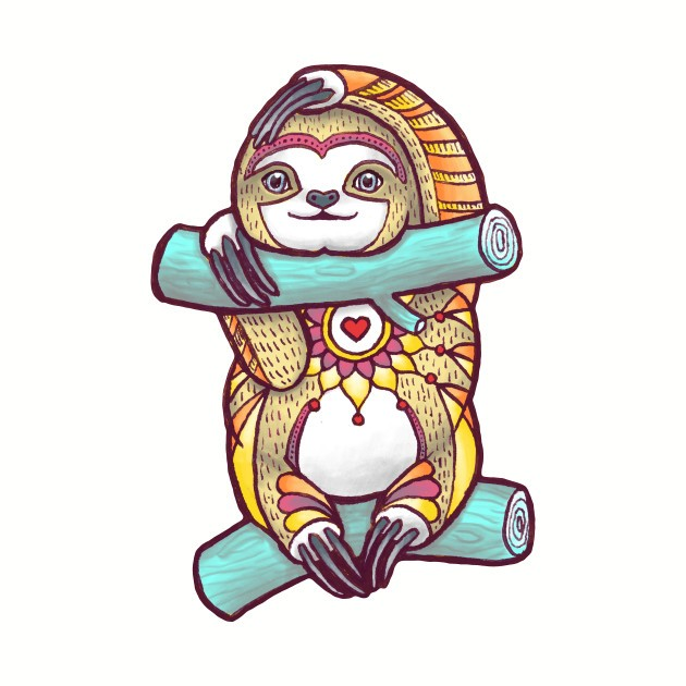 Colorful ornamented sloth between turquoise branches tattoo design