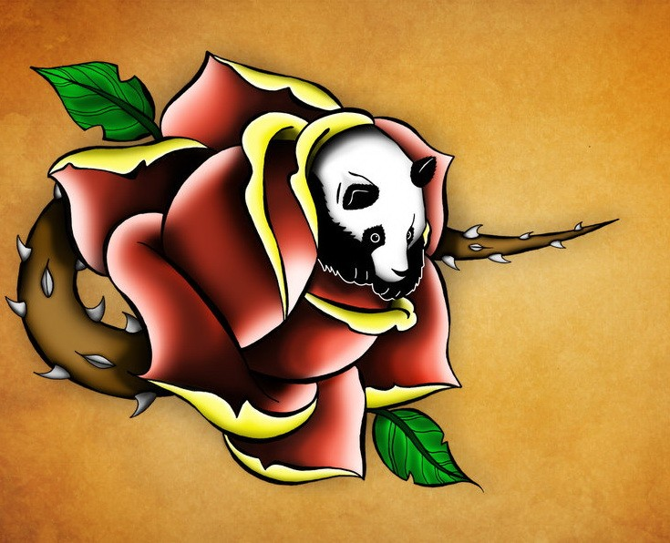 Colorful panda escaping from spined rose bud tattoo design by Dalton 1987