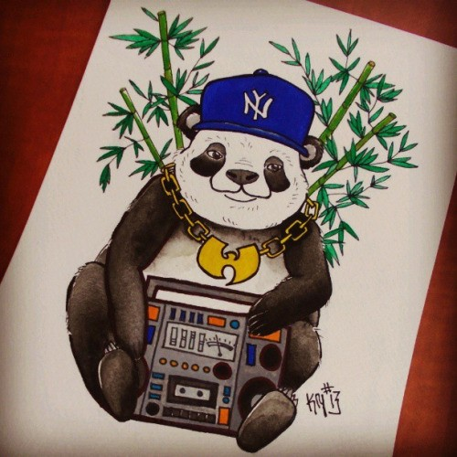 Colorful panda raper with reorder and bamboo tattoo design