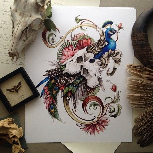 Colorful peacock and ram skulls on floral background tattoo design