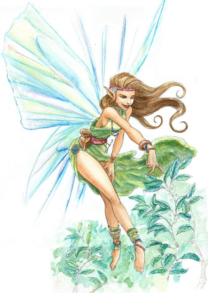 Colorful pencilwork fairy in the forest tattoo design