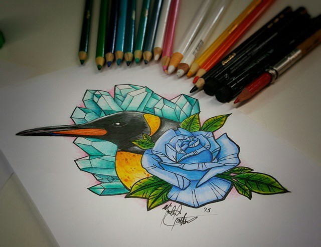 Colorful penguin and rose on crystal background by Mikael Does Art