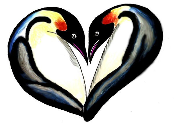Colorful penguins forming a heart tattoo design by Rat Daddy Tattoo