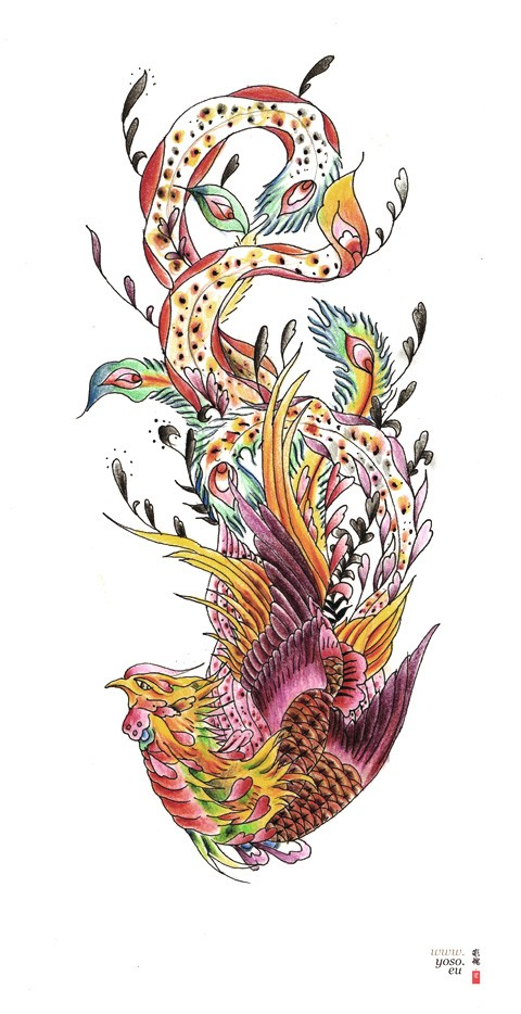 Colorful phoenix with long original tail tattoo design