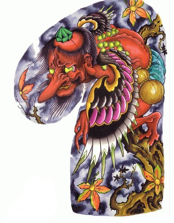 Colorful red-skin winged demon sitting on maple tree tattoo design