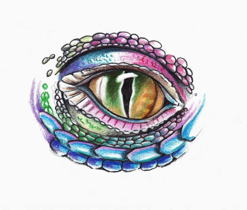 Colorful reptile eye tattoo design by Phantomphreaq