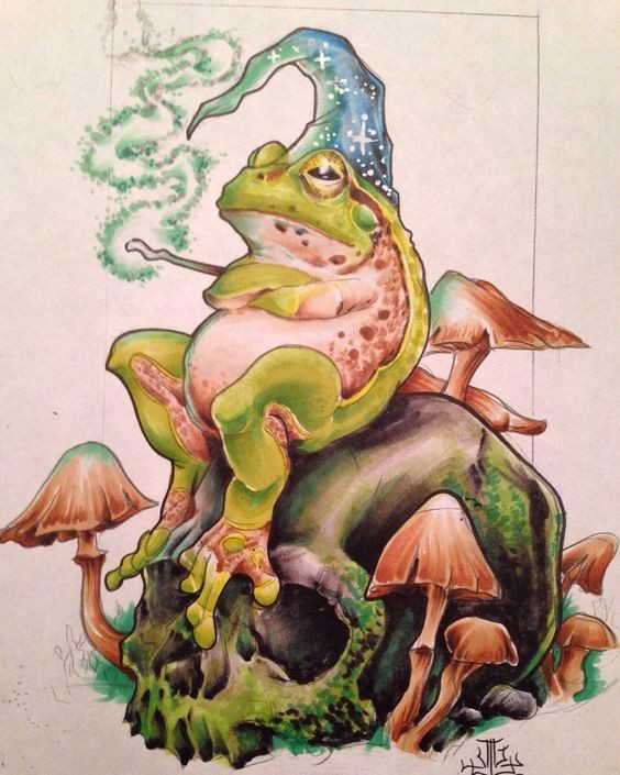 Colorful resting reptile wizard with large rock and mushrooms tattoo design