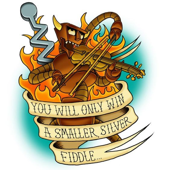 Colorful robotic devil playing violin entwined with a long banner tattoo design