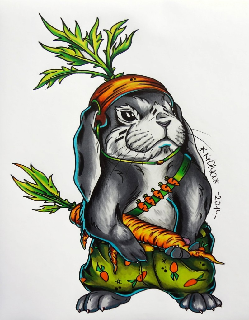 Colorful rodent soldier with carrot weapon tattoo design by 1990 Krolya
