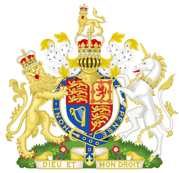 Colorful royal british coat of arms with unicorn and lion tattoo design