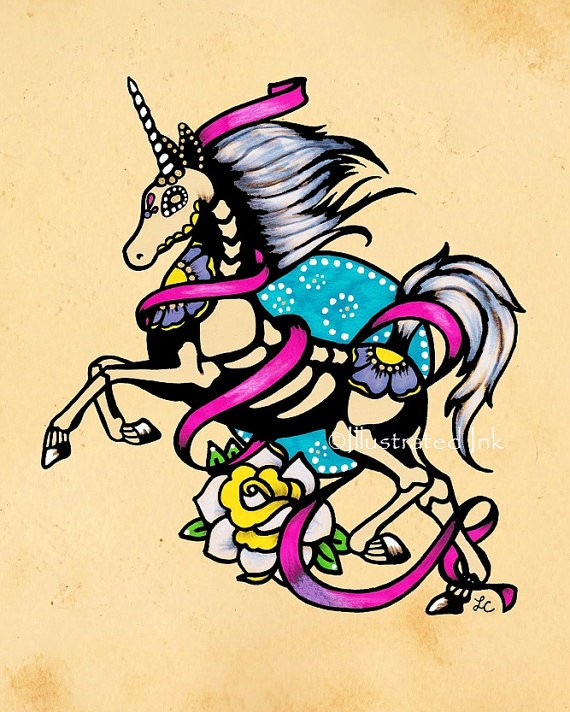 Colorful running unicorn with floral print tattoo design