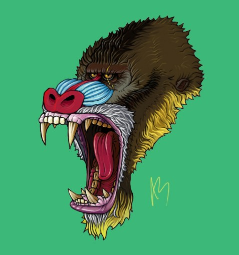 Colorful screaming baboon head with scar tattoo design