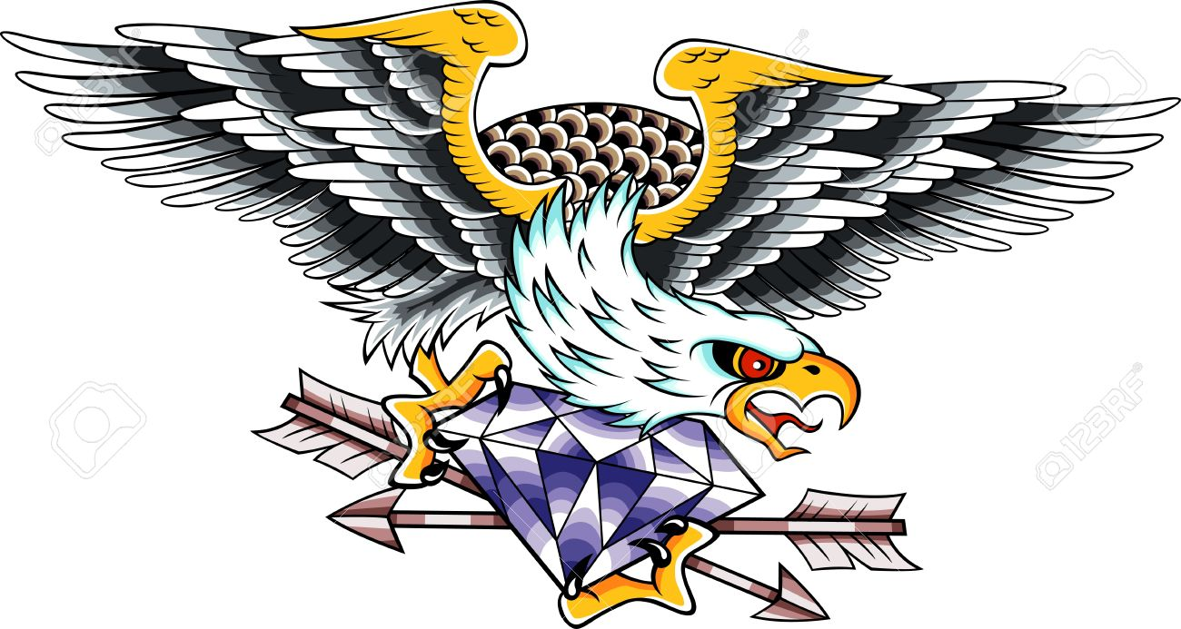 Colorful screaming eagle with diamond and arrows tattoo design