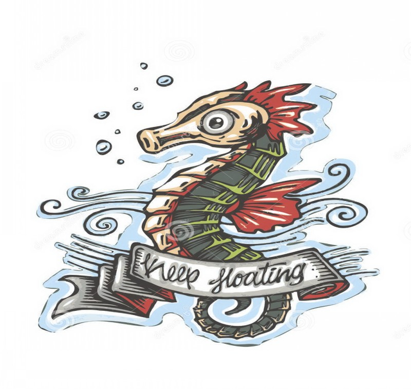 Colorful seahorse with quoted banner and blue waves tattoo design