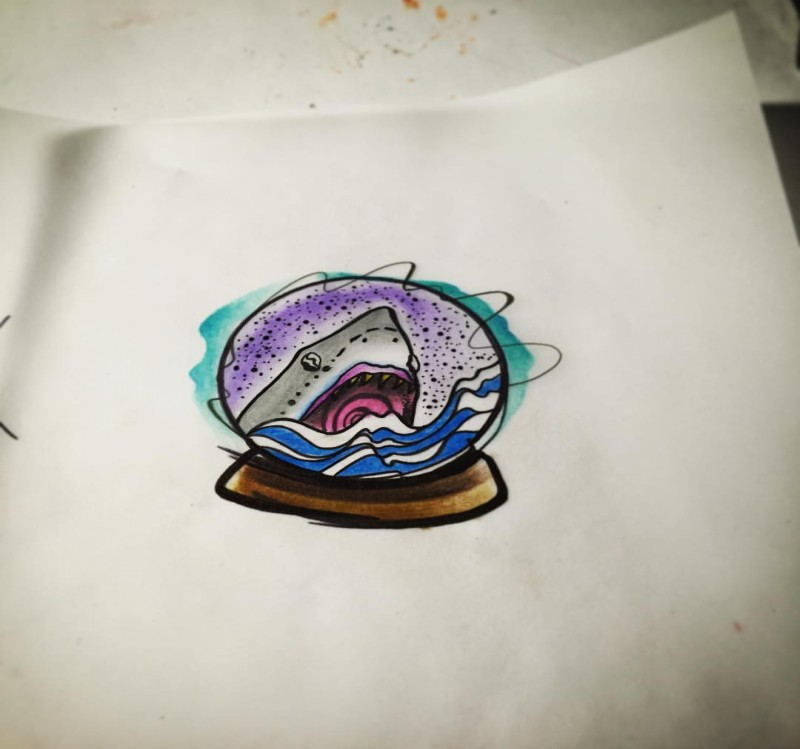 Colorful shark head in glassed ball tattoo design