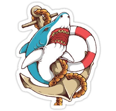 Colorful shark with anchor and lifebuoy tattoo design