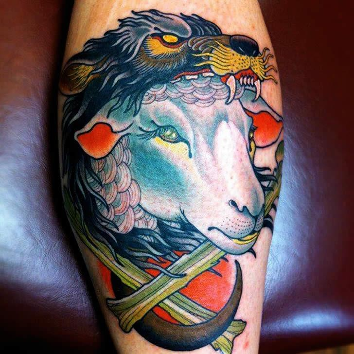 Colorful sheep in wolf skin tattoo on shin
