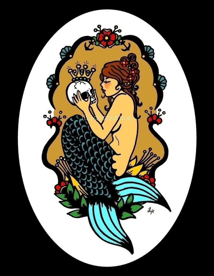 Colorful sitting mermaid keeping crowned skull in hands tattoo design