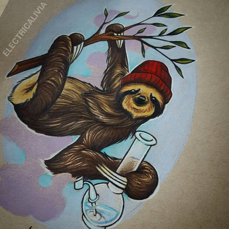 Colorful sloth in hat keeping glass bulb tattoo design
