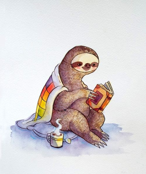 Colorful sloth reading a book under warm plaid tattoo design