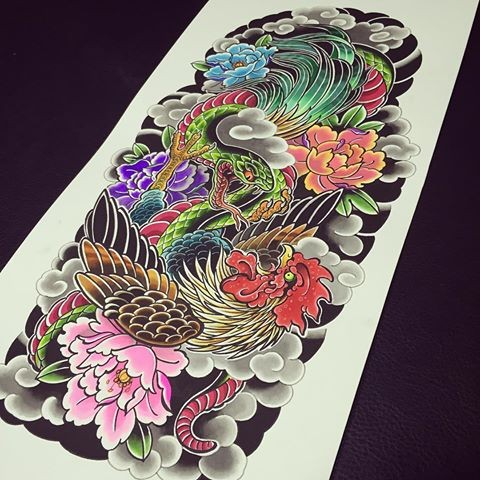 colorful snake and rooster with peonies in japanese style tattoo design. Black Bedroom Furniture Sets. Home Design Ideas