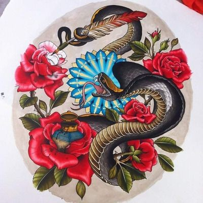 Colorful snake painting rose buds tattoo design