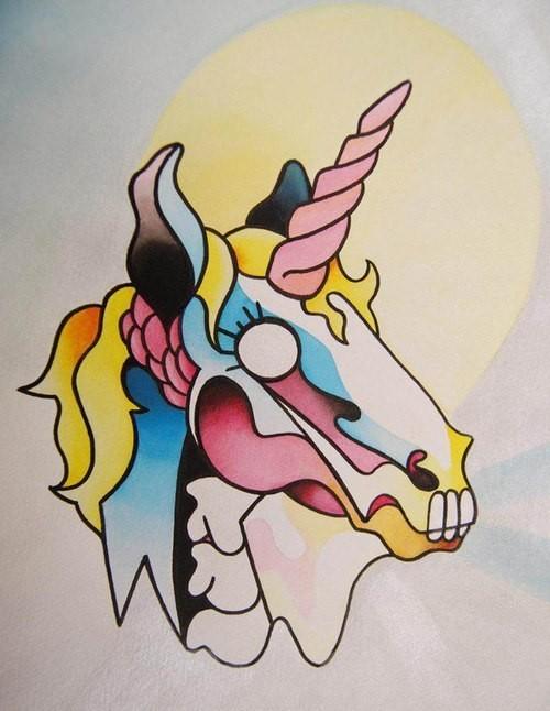 Colorful sugar skull unicorn tattoo design