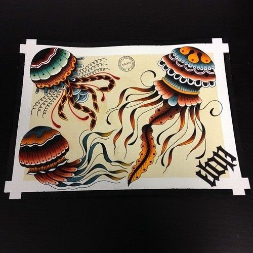 Colorful traditional jellyfish tattoo design variants