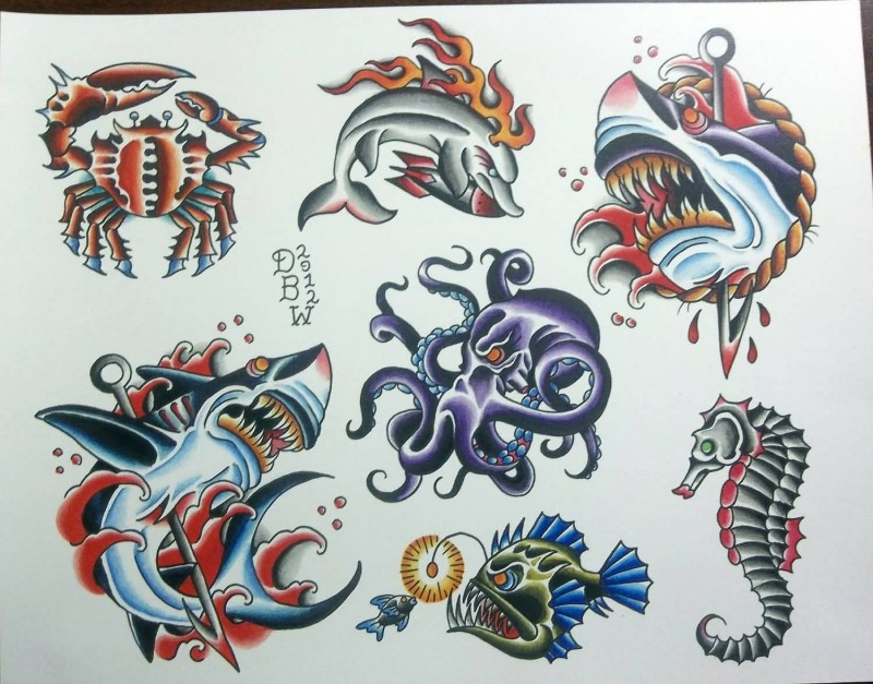 Colorful traditional water animals tattoo design