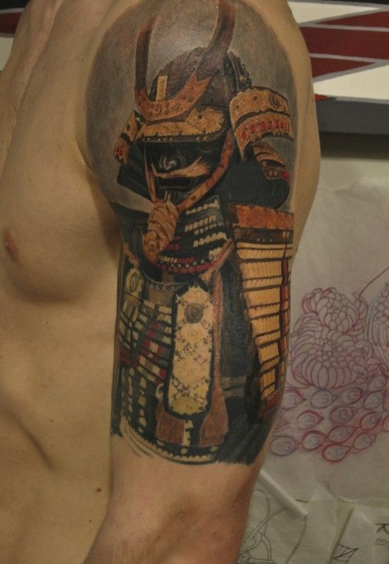 Colorful tranquil japanese warrior tattoo on shoulder