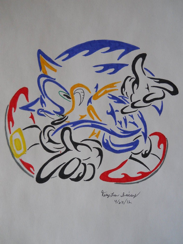 Colorful Tribal Sonic The Hedgehog Tattoo Design By Arch Angel Vampire Tattooimages Biz