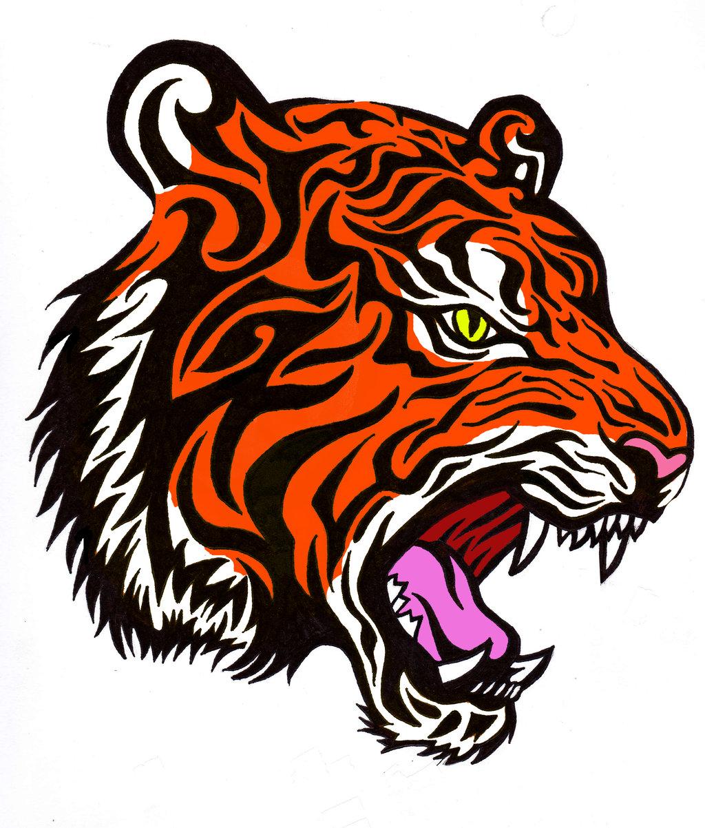 Colorful tribal tiger head tattoo design by Bathedinsin