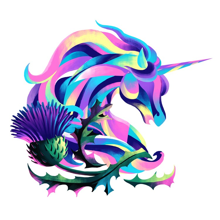 Colorful unicorn head silhouette with a huge agrimony tattoo design