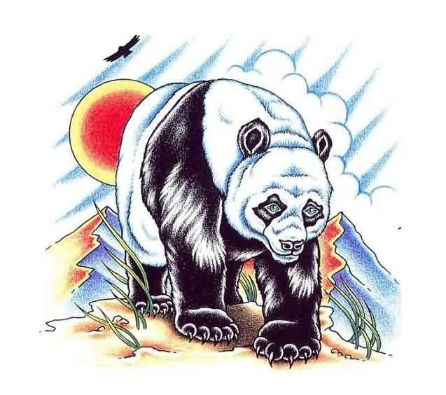 Colorful walking panda bear on sunset background tattoo design