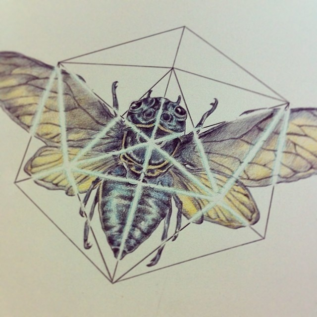 Colorful winged bug and white-line polygon tattoo design