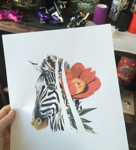 Colorful zebra head and poppie flower tattoo design
