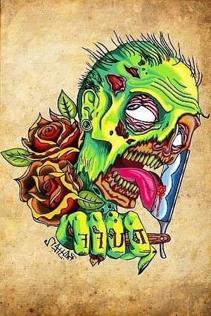 Colorful zombie keeping a shaving blade with rose buds tattoo design