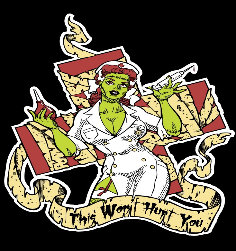 Colorful zombie nurse with a cross and a banner tattoo design by Smarelda