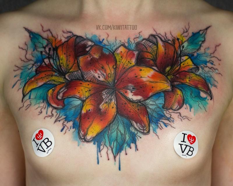 Tatuaggio acquarello Colorfull sul petto