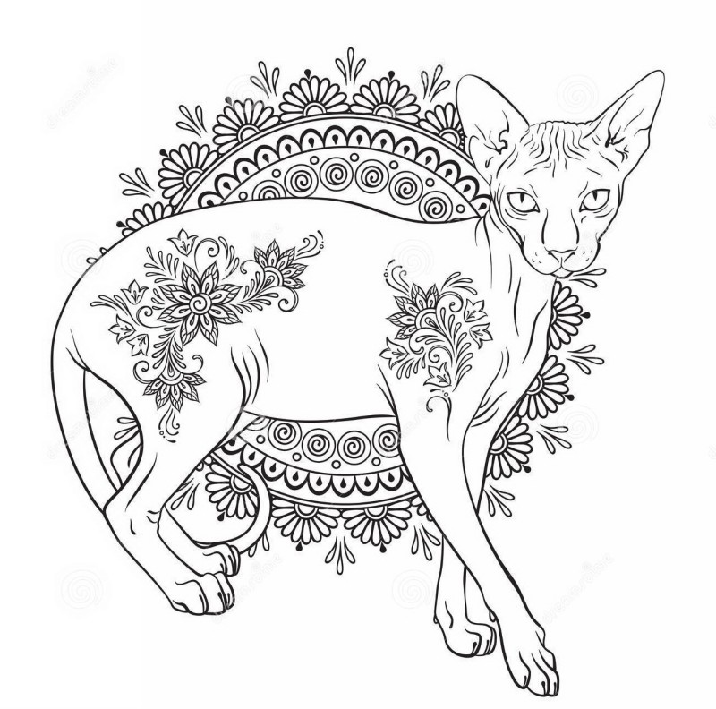 Colorless animal with floral print on mandala background tattoo design