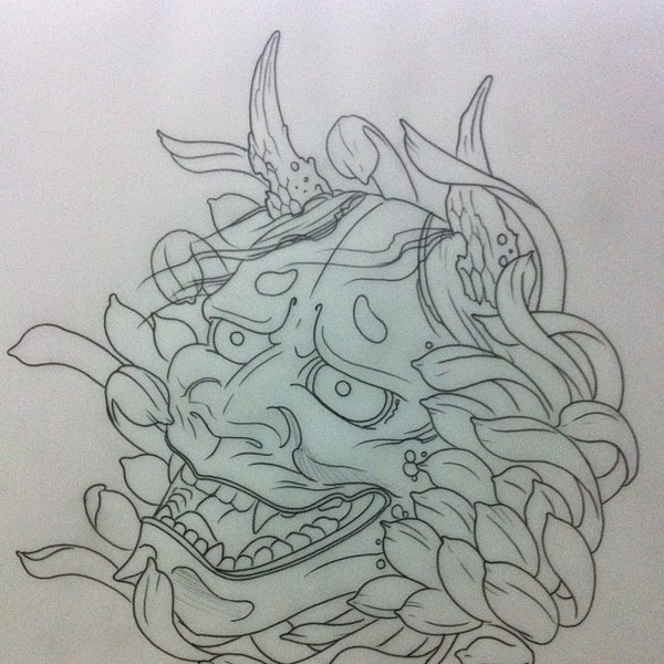 Colorless chinese devil with peony bud tattoo design