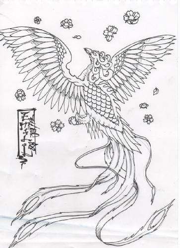 Colorless chinese style phoenix with falling cherry blossom tattoo design