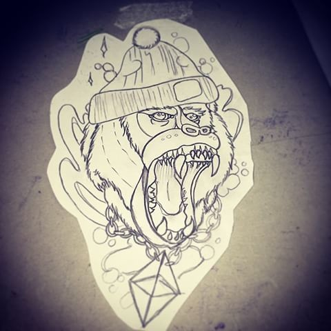 Colorless crying baboon hipster in cap tattoo design